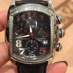 Invicta lupah diamond chronograph black leather